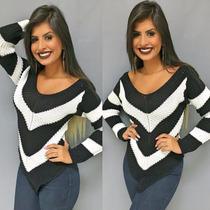 Blusa Tricot Listrado Bico Inverno Bicolor Feminina