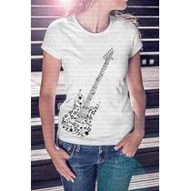 Promoção! Camiseta Feminina Guitarra Notas Musicais