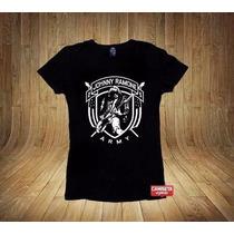 Camiseta Feminina Johnny Ramone Ramones Hey Ho Lets Go