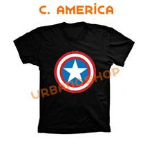 Camisetas Capitão America Super Heroi Camiseta Preta