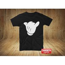 Camiseta Masculina Mickey Hang Loose Surf Sátira Engraçada