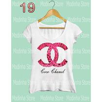 Tshirt Feminina Blusa Estampa Chanel Marca Moda 2016 Rosa