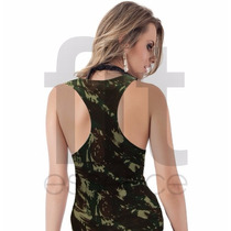 Regata Feminina Modelo Nadador Suplex Camuflada Militar