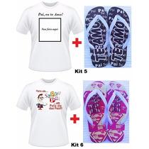 Kit Presente Dia Dos Pais Camiseta + Chinelo Personalizado