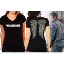 Camiseta Feminina The Walking Dead Asas Daryl Dixon Algodão