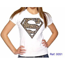 T-shirts Feminina Super Homem Oncinha Camiseta Personalizada