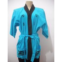 Blusa Bata Kimono Azul Chines Japones Tam U Cfe Medidas