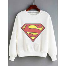 Moletom Blusa Sueter Abrigo Manga Longa Logo Superman