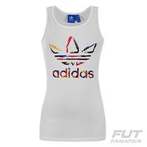 Regata Adidas Trefoil Originals Feminina Branca -futfanatics