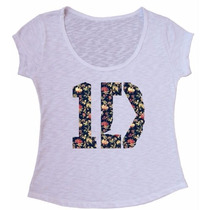 Blusa Tecido Flame One Direction Flowers Camiseta Baby Look