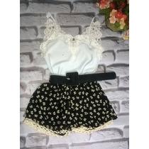 Conjunto Feminino Shorts Estilo Boneca Laço+blusinha +cinto
