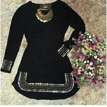 Vestido Pedraria Manga Longa Moda Blogueira Juju Lindo