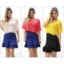 Blusa Cropped,top, Renda Croche, Saida De Praia