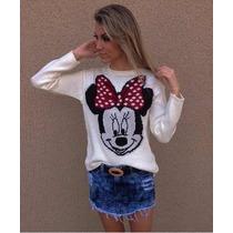 Blusa De Tricô Tricot Cardigãs Lã Disney Minnie Mickey Mouse