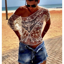 Blusa Cropped Renda Verão Praia Moda Linda Pront Entrega : D