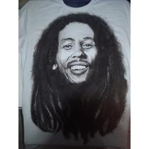 Camiseta Bob Marley Pintada A Mão