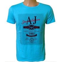 Camiseta Armani Camisa Gola Careca Azul Claro Original