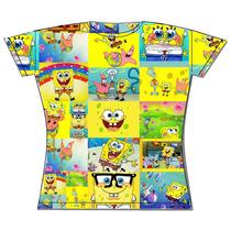 Camiseta Bob Esponja Baby Look Toda Estampada