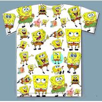 Camiseta Bob Esponja Modelo Básico Toda Estampada