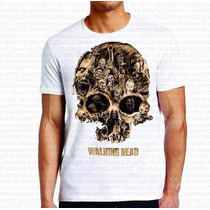 Promoção! Camiseta Masculina The Walking Dead Caveira Zumbis