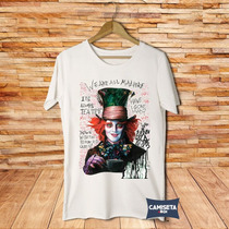 Camiseta Masculina Chapeleiro Maluco Alice No País Johnny