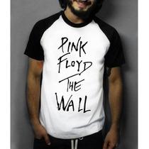 Camiseta Raglam Manga Pink Floyd Rock Masculina Algodão