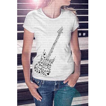 Camiseta Pronta Entrega Feminina Guitarra Notas Musicais
