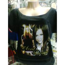 Camiseta Gola Canoa Avril Lavigne Fotos Cor Preta