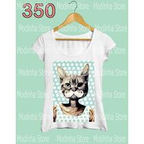Camiseta Blusa Tshirt Feminina Estampa Gato Bigode Bolinha