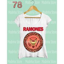Tshirt Blusa Feminina Banda Ramones Oncinha Rosa Moda Rock