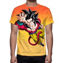 Camisa, Camiseta Goku Super Saiyajin 4 - Estampa Total