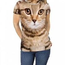 Camiseta Com Estampa De Gato Feminina