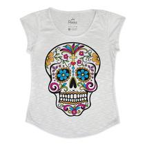 Blusa - T Shirt - Feminina Caveira Mexicana Colorida