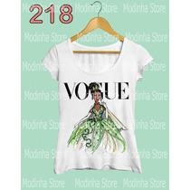 Tshirt Feminina Princesa Vogue Tiana Princesa Sapo Disney
