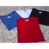 Camiseta Gola V 100%algodão Fio 30,1 Em Cores Do P Ao Gg