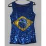 Camiseta Regata Feminina Brasil Frente Em Paetê