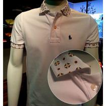 Camisa Polo Branca Especial Detalhes Na Gola, 100% Original