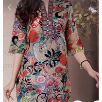 Blusa Seda Chiffon Estampa Floral/ Pronta Entrega