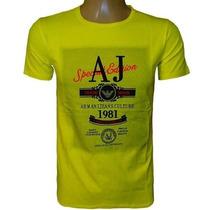 Camiseta Armani Camisa Gola Careca Amarela