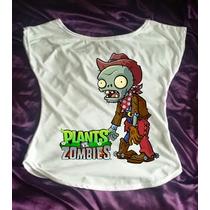 Camiseta Plants Vs Zombies Plantas Zumbis Babylook Canoa 5