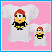 Blusa, Camisetas Tal Mãe Tal Filha Minions Viuva Negra, Ving