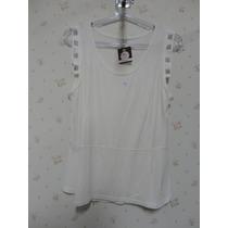 Blusa Branca Com Brilho - Blusinha Feminina -regata - Branca