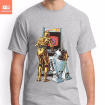 Camisetas Star Wars C3po R2d2 Nostalgia Filme Game Arcade