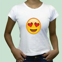 Camisa Babylook Emoticon Vergonha Amor Beijo Coracao Algodão
