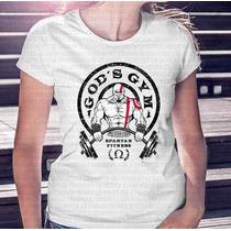Camiseta Mais Barata Do Ml Feminina Fitness Gods Gym Kratos