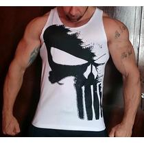 Camiseta Regata Fechada Justiceiro Exclusiva P/ Musculação