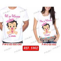 Kit Camiseta Gestante Gravida Coroa Príncipe Princesa Com 2