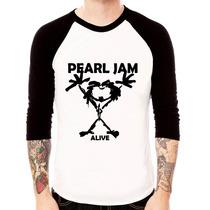 Camiseta Raglan 3/4 Pearl Jam Alive