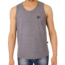 Camiseta Regata Cinza Lisa Estilo Hollister Slim Fit Surf