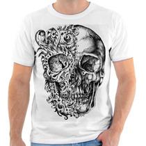 Camiseta Camisa Estampada Caveira Masculina Desenho